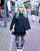 Green Bangs Hairstyle, Sheer Skirt, Graphic Tights & Hello Kitty in Koenji