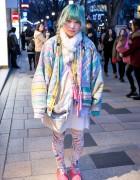 Green Hair, Oversized Pastel Coat & Pamela Mann Tights in Harajuku