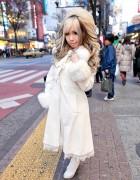 Shibuya Girl's Green Streaked Hair, Long White Coat & Buffalo Bobs Bag