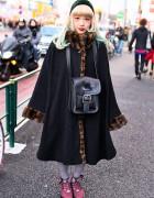 Green-Blonde Hair, Oversized Coat, AvantGarde Tights & Tokyo Bopper in Harajuku