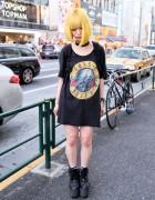 Yellow Bob Hairstyle, Guns N' Roses T-shirt & YRU Platforms in Harajuku