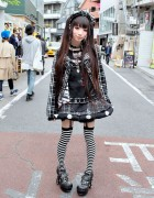 Plaid h.NAOTO Fashion, Striped Socks, Studded Heels & Piercings in Harajuku