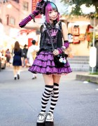 Harajuku Girl w/ Piercings, Pink-Blue Hair, h.NAOTO, Putumayo & Winged Creepers