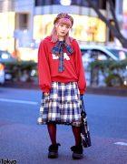 HEIHEI Harajuku Style w/ Skeleton Rabbit Sweatshirt, Plaid Bow, Plaid Beret, Plaid Skirt & Tokyo Bopper