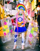 Harajuku Girl Wearing Colorful Handmade & Remake Fashion On The Street in Shibuya