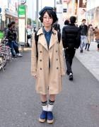Overcoat, Denim Dress, Beret & Platforms in Harajuku