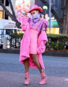 Pink Cowgirl Harajuku Street Style w/ Dolls Kill Cowboy Hat, Sugar Thrillz & Jeweled Cowboy Boots