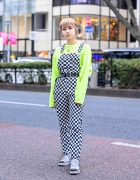 Harajuku Girl in Checkered Overalls, &Ellecy T-Shirt & Hand Painted Nike Air Force Ones