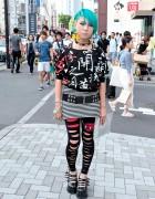 Aqua Hair, Galaxxxy Kanji Print & Cutout Leggings in Harajuku
