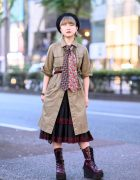 Harajuku Girl w/ Twin Neckties, Belted Trench Coat, The Mondays Skirt, Steampunk Watch & Yosuke Platforms