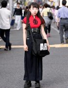Harajuku Girl in Chinese Top, Leather Corset Belt, Platform Creepers & Basic Cotton