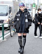 Harajuku Girl w/ Bomber Jacket, Neck Tattoo, Colorful Hair & Yosuke Boots
