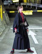 Vintage Haori Jacket, Hakama Pants Corset Belt &  Dr. Martens Sandals in Tokyo