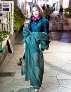 Vintage Green Kimono, Pastel Bob, Platform Heels & Fishnets in Harajuku