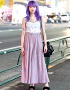 Elleanor in Harajuku w/ Purple Hair, Oh Pearl Top, WC Skirt, Bubbles Sandals & Grafea Bag