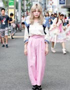 Pastel Hair, Sailor Top, Pink Pants & Comme Des Garcons in Harajuku