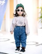 2-year-old Harajuku Girl on Cat Street w/ Sweatshirt, Denim, Sneakers & Sunglasses