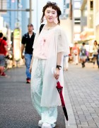 Vintage-Loving Harajuku Girl w/ Princess Earrings & Mouse Rabbit Tote Bag