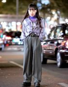 Harajuku Girl in Shiny Vintage Streetwear Style w/ Fashion From Funktique Tokyo