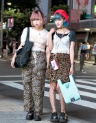 Harajuku Girls w/ Pink & Blue Hair in Animal Print & Camisoles Over Shirts