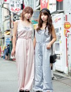 Pink & Blue Camisole Jumpsuits From Bubbles Harajuku & Platform Sandals