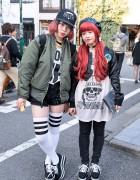 Jeffrey Campbell Platform Sneakers, Pink Hair & Bombers in Harajuku