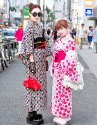 Harajuku Girls in Summer Kimono, Furry Sandals & Cute Accessories