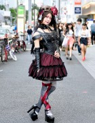 Harajuku Gothic Lolita in Na+H Corset, Harness, Ribbon Tights & Masquerade Mask