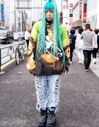 Aqua Braids, Pin Nap Ripped Jeans, OS Accessories & Buffalo in Harajuku