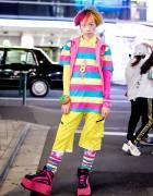 Harajuku Guy's Kawaii Street Style w/ Candy Stripper, 6%DOKIDOKI & W&LT