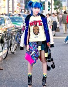 Harajuku Girl w/ Blue Hair, Joyrich Jacket, SEGA Purse, Mr. T & Jeffrey Campbell