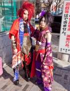 Punk & Gothic x Kimono Fusion Street Style in Harajuku