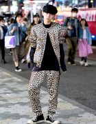 Leopard Print Suit by Phillip Lim, Rick Owens Sneakers & Givenchy in Harajuku