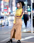 Harajuku Girl in UNIF Sweatshirt, MYOB NYC Distressed Skirt & 23.65 Sneakers