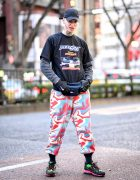 French Fashion Model in Harajuku w/ Face Tattoos, Color Camo, Tommy Waist Bag & Nike Air Max 98