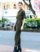Japanese Fashion Model Jaycee in Harajuku w/ Olive Green Jumpsuit & Heeled Boots
