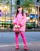Super Pink Harajuku Street Style w/ Jenny Fax Tiny Jeweled Handbag, Jouetie, Ank Rouge Sparkling Heels