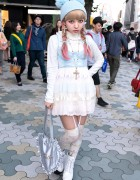 Harajuku Kawaii Style w/ Pompom Beanie, Milk Skirt & Katie Heart Bag