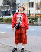 San To Nibun No Ichi Resale Harajuku Street Style w/ Red Sweater, Plaid Skirt & Oversized Glasses