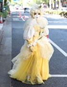 Shironuri Minori in Harajuku Wearing Yellow Dress w/ Flowers & Vines