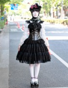 Harajuku Shironuri in Gothic Fashion, Corset & Ball Joint Tights