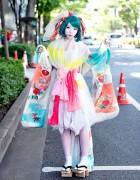 Harajuku Shironuri w/ Colorful Kimono Sleeve Dress & Geta