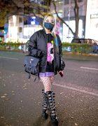 Female Japanese Rock Guitarist in Harajuku w/ Kawi Jamele Bomber Jacket, Nyulycadelic & Tall Demonia Buckle Boots