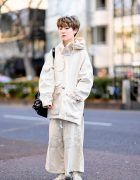 Minimalist Monochrome Street Style w/ Tomorrowland Jacket, Maison Margiela Wide Pants, Issey Miyake Origami Bag & Converse