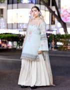 Harajuku Girl Wearing Pastel Bonanza Satrangi Top, Khaadi Bottoms & Accessories From Pakistan