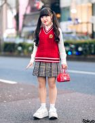 Harajuku Girl in Kawaii Pink House Street Style w/ Plaid Skirt, Knit Vest, Hello Kitty Bag & Tokyo Bopper