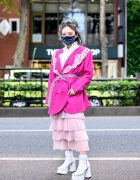 Harajuku Stylist in Belted Pink Blazer, Face Mask, Ruffle Top, Tiered Skirt & White Platform Heels