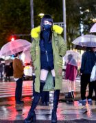 Harajuku Girl in The Rain w/ Clear Umbrella, Face Mask, Green Coat, LV Bag & Over The Knee Boots