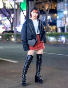 Harajuku Girl w/ Pink Bob Hairstyle in Lamoda Lace-Up Boots, Bomber Jacket, Chucla by Spinns