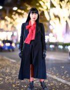 Harajuku Girl's Vintage Red & Black Street Style w/ Leather Gloves, Vivienne Westwood & Dr. Martens